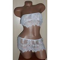 Сексуальный кружевной комплект белья белого топ и мини юбочка