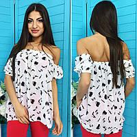 Летняя блузка с открытыми плечами