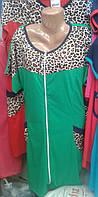 Халат женский с вставкой с леопардовым принтом
