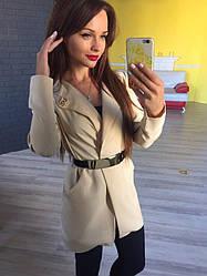 Пиджак удлененный ,в комплекте ремень и брошь