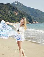 Пляжный коврик Мандала голубой. 150см