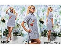 Легкое летнее женское платье-рубашка коттон размеры:42, 44, 46, 48