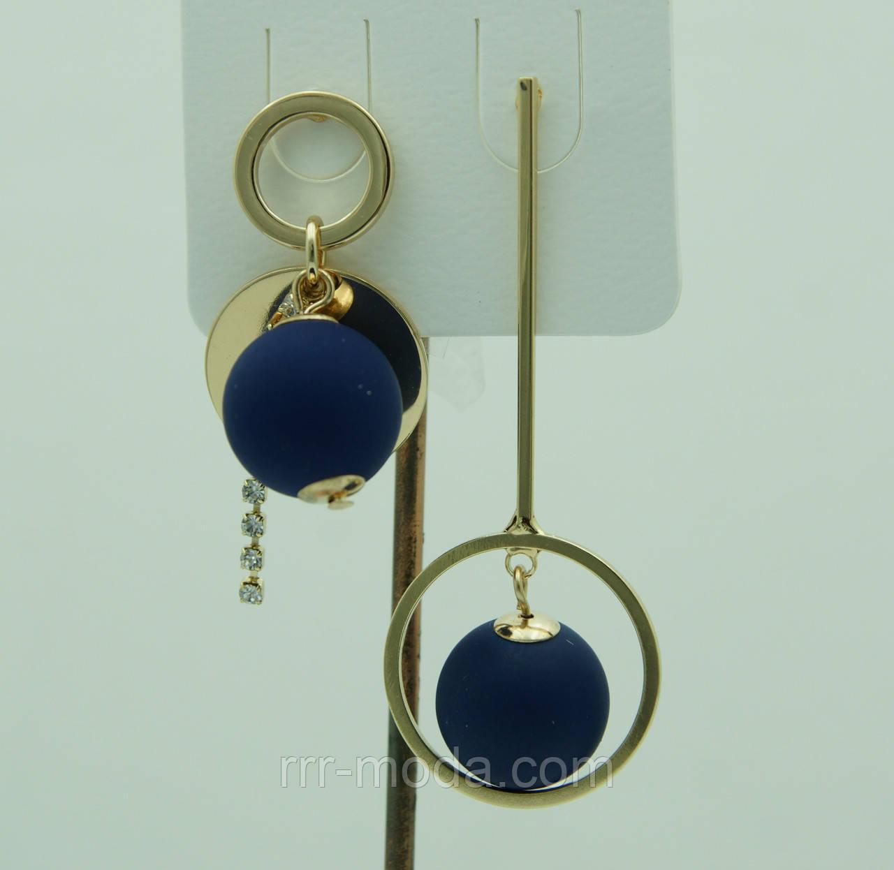Синие висячие серьги пусеты. Модные летние серьги с шариками 3058
