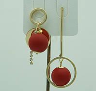 Красные висячие серьги пусеты. Модные летние серьги с шариками 3059