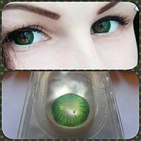 Цветные зелёные линзы для глаз Green 1, цветные линзы на год