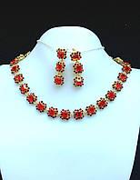 Ожерелье набор красные кристаллы