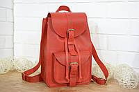 Женский кожаный рюкзак на затяжке | Винтажный Коралл, фото 1