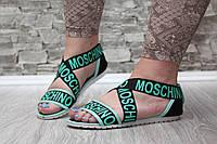 Модные стильные легкие босоножки Moschino , черные с бирюзовым