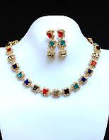 Ожерелье набор разноцветные кристаллы