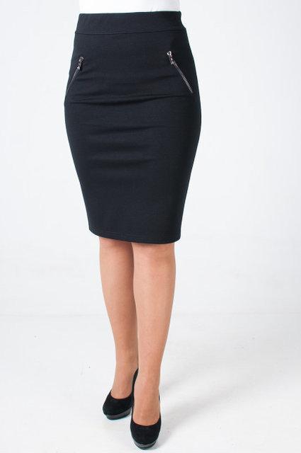 Трикотажная зауженная женская юбка-карандаш с замочками обманками.