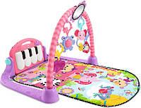 "Развивающий коврик ""Пианино"" 3в1 для девочки с 0+ Fisher-Price Kick and Play Piano Gym Pink Оригинал из США"