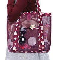Летняя сумочка для пляжа прорезиненная. Бордовый цвет