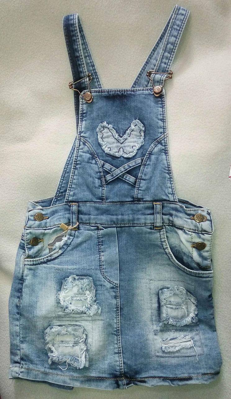 Детский джинсовый сарафан для девочек 8-12 лет