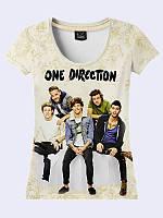 """Женская яркая футболка """"One Direction"""" с модным принтом/рисунком молодежного бой-бэнда. Размеры от 42 по 50."""