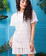 Платье с ажурной тканью (Франческа lzn) белый