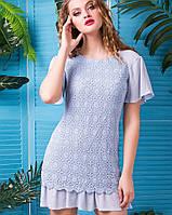 Платье с ажурной тканью (Франческа lzn) голубой