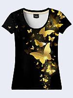 """Стильная женская 3D-футболка """"Gold butterflies"""" черного цвета из легкой ткани на лето. Размеры XS-XL."""