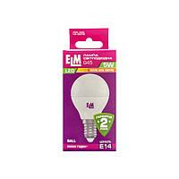 Лампа светодиодная ELM шар G45 5W E14 3000K