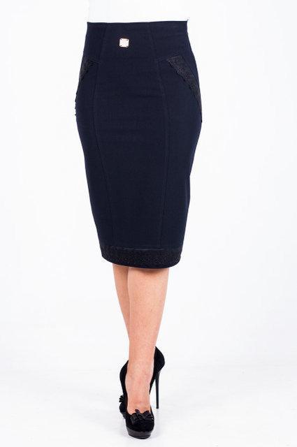 Классическая модная женская юбка с кружевными вставками