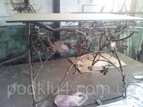 Кованый кухонный столик со стеклом, фото 2