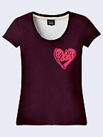 """Женская летняя футболка """"Розовое сердце"""" из тонкой легкой ткани. Женская футболка на лето."""