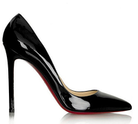 Черные женские туфли-лодочки  с красной подошвой