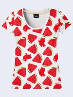 Женская 3Д футболка Арбузные дольки, белого цвета с красным рисунком из легкой ткани на лето.