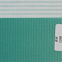 Рулонные шторы День Ночь Ткань Радуга ВМ-1208 Синевато-зелёный