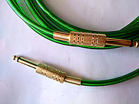 Гитарный шнур - прозрачный с зеленым оттенком - золотой Jack 6.3 с пружиной (моно)