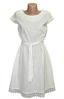 Платье женское модное с гипюром и поясом лен арт.424