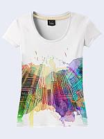 Женская 3D-футболка Акварельные дома с нежным рисунком. Новинка женских футболок на лето 2017.