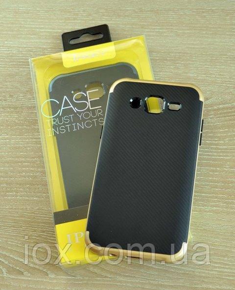 Мягкий черно-золотой чехол-накладка IPAKY Carbon для Samsung Galaxy J5