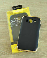 Мягкий черно-золотой чехол-накладка IPAKY Carbon для Samsung Galaxy J5 , фото 1