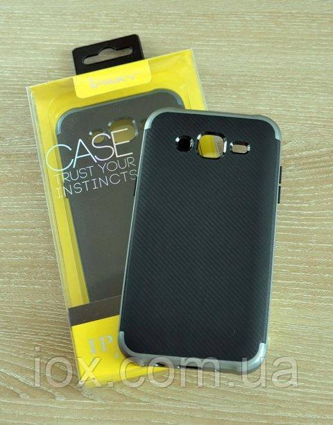Мягкий черно-серый чехол-накладка IPAKY Carbon для Samsung Galaxy J5