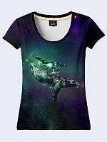 """Привлекательная женская футболка с 3Д рисунком/принтом """"Whales in space/Киты в Космосе"""" из легкой  ткани."""