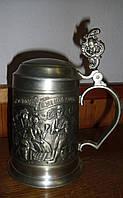 Пивной бокал с крышкой из олова Германия  9S