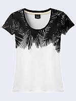"""Яркая и легкая женская футболка """"Пальмовые ветки""""  отлично будет сочетаться с брюками, джинсами, юбками."""