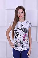Женская футболка котон с печатным рисунком
