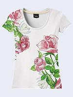 """3Д Футболка женская с принтом/рисунком """"Летние Розы"""" с коротким рукавом для самых разнообразных образов."""