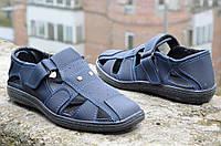 Мужские босоножки, сандали темно синие летние удобные прошиты Львов 2017