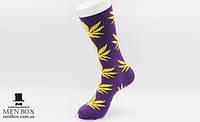 Длинные носки HUF PLANTLIFE фиолетового цвета с желтым листом конопли