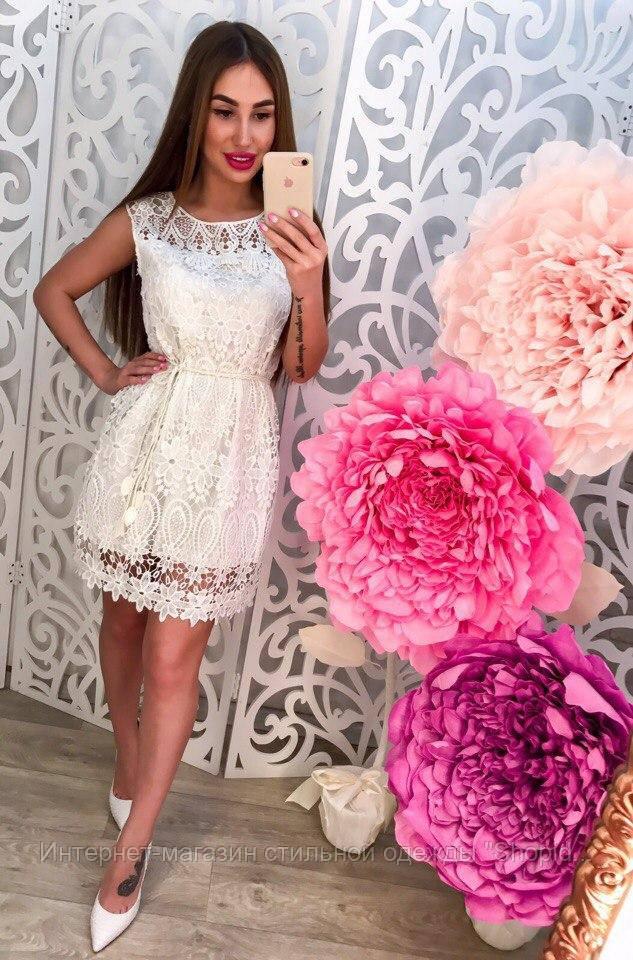 """Женское стильное кружевное платье (3 цвета) - Интернет-магазин одежды от производителя """"Shopiday"""" в Киеве"""