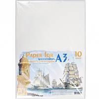 Бумага для акварели А3 10 листов, 200г/м², в п/п пакете
