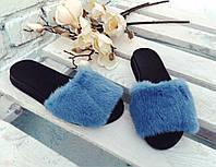 Шлепки женские из натуральной окрашенной норки, голубые.