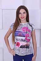 Женская трикотажная футболка с рисунком
