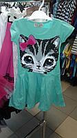 Платье летнее для девочки стильное с кошкой