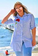 """Женская стильная рубашка-туника в больших размерах 050 """"Лён Полоска Роза Вышивка"""""""