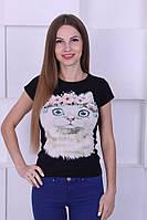 Женская футболка с котом
