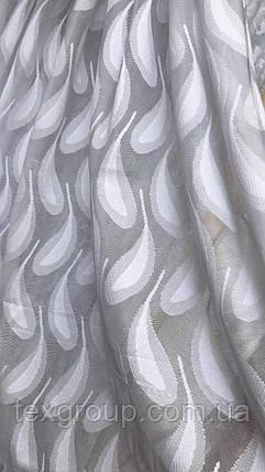 Тюль сетка белого цвета перья, фото 2