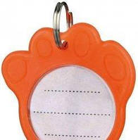 Брелок домашний адрес (оранжевый в форме лапы) (ТХ-2277)